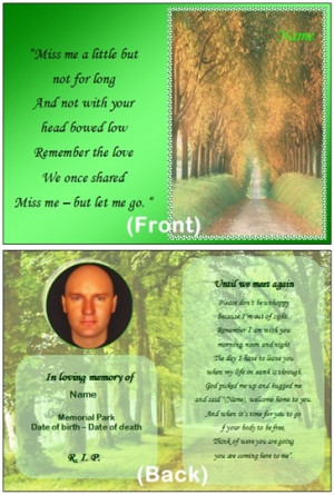 Memorial Poem Cards And More