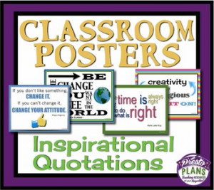 POSTER SET FOR BACK TO SCHOOL: Quotes To Inspire Your Students