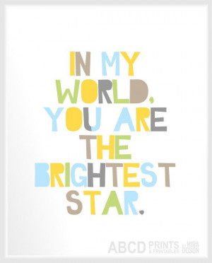 Nursery quote print In my world you are the brightest star