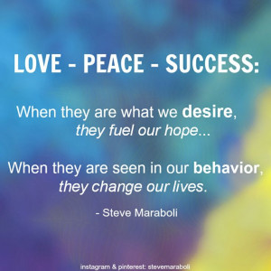 LOVE – PEACE – SUCCESS: When they are what we desire, they fuel ...