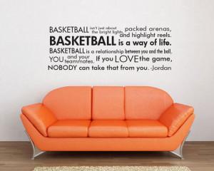 Basketball Jordan quote Boys Room Vinyl Wall Word Decal Art