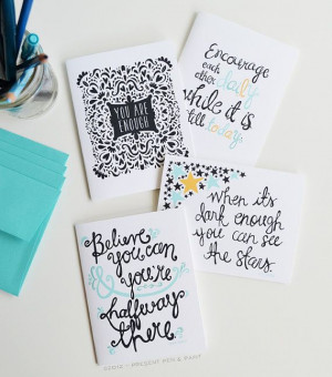 Encouragement note cards by #penandpaint