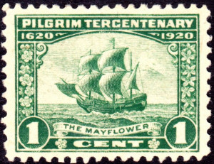 ... from 1920 featuring the Mayflower. U.S. Post Office. Public domain