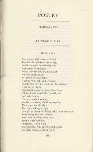 ... in poetry the february 1985 issue begins with his poem happiness