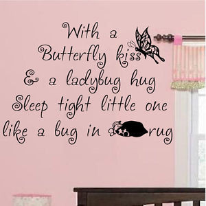 Wall Sticker Art Quote Nursery BUTTERFLY KISS