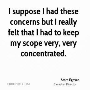 Atom Egoyan - I suppose I had these concerns but I really felt that I ...