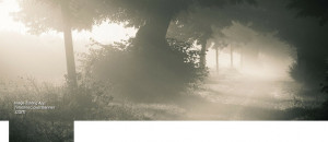 country road covered with fog Facebook cover