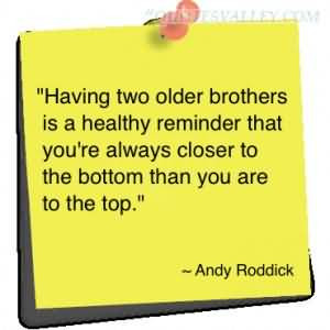 Quotes About Older Brothers Having two older brothers is a