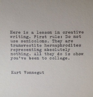 Kurt Vonnegut Writing Quote Typed on Typewriter by farmnflea, $10.00