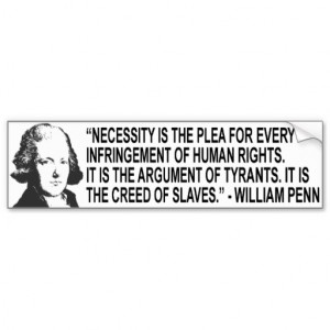 William Penn Quote Bumper Sticker Car Bumper Sticker
