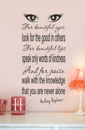 Audrey Hepburn Wall Decals | Audrey Hepburn Quote decor Vinyl Wall ...