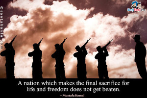 ... makes the final sacrifice for life and freedom does not get beaten
