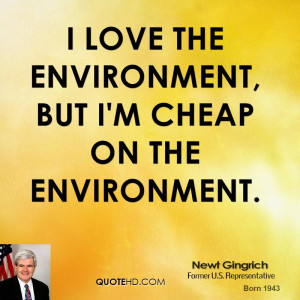 love the environment, but I'm cheap on the environment.