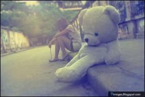 Alone, sad, girl, teddy-bear, cute