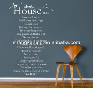 funny House rules vinyl wall decal art vinyl wall quote List Wall ...