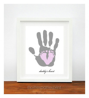Gift for New Dad - Baby Footprint Dad Hand Print - Personalized Gift ...