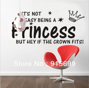 ... PRINCESS CROWN GIRL HOME DECOR BEDROOM WALL QUOTE DECAL [Top-Me]-8135