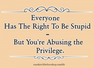 Everyone Has The Right To Be Stupid - Sarcastic Quote