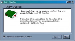 Daily Quotes and Tips dialog box
