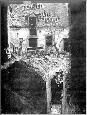 Germans in a trench left behind by the French. It ran right through a ...