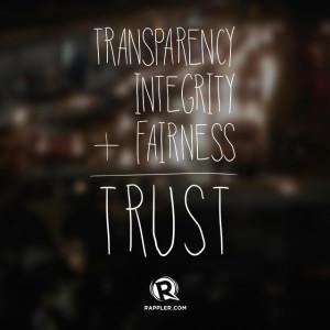 Transparency + Integrity + Fairness = Trust