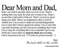 Mom And Dad Quotes Thank You ~ Thank you mom and dad! :)   Quotes ...