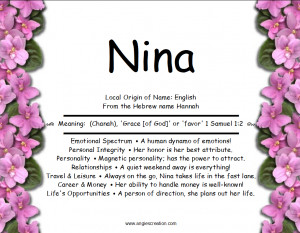 nina local origin of name english from the hebrew name hannah meaning ...