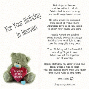 For Your Birthday In Heaven – Birthdays in Heaven, must be without a ...