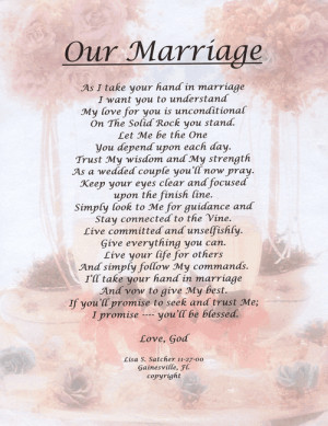 Christian Poetry - Poems - Our Marriage Christian Country Wedding ...