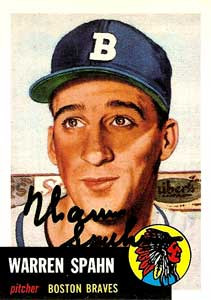 Warren Spahn Autograph on a 1953 Topps Archives (#147)
