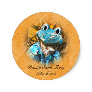 Inspirational Quotes You Are Beautiful Frog Prince Round Stickers