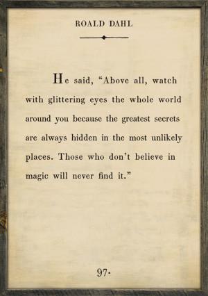 Roald Dahl Quote Vintage Framed Art Print
