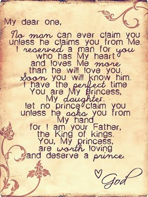My daughter, let no prince claim you unless he asks you from my hand