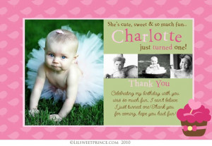 Cupcake 1st Birthday Thank You Card