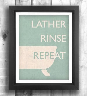 Quote print poster, bathroom art, retro poster, digital print, wall ...