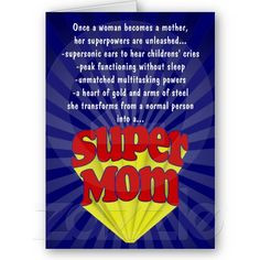 Funny Mother's Day Greeting Card, Super Mom Superhero #mothersday More