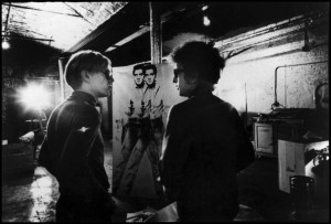 Bob Dylan visiting Andy Warhol at the Factory, 1966.