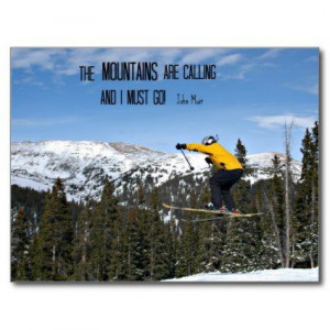 The Mountains are calling... Post Cards: Snow skier jumping through ...