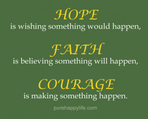 Courage Quote: HOPE is wishing something Would happen, FAITH is ...
