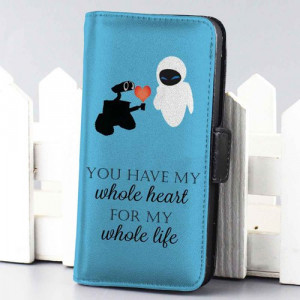Home wallet case Disney Wall-E Love Quotes wallet case for iphone 4,4s ...