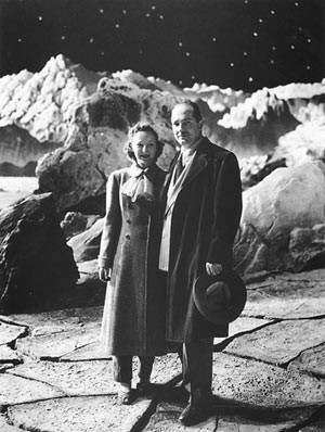 Robert Heinlein and his wife on the set of Destination Moon (1950)