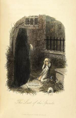 Scrooge and the Ghost of Christmas Yet to Come. Original illustration ...