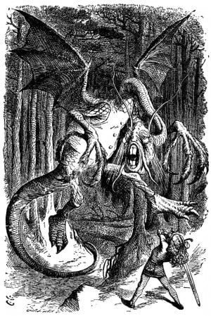 An illustration of the Jabberwocky and Alice.