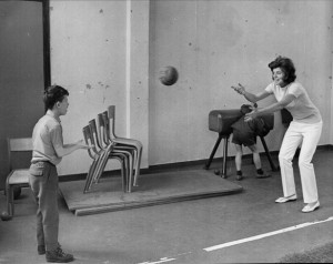 380959 02: FILE PHOTO: Eunice Shriver seen playing ball with a ...