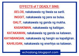 Effects of 7 Deadly Sins - Tagalog Love Quotes Collection