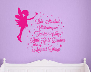 Girls fairy wall quote decal, stard ust on pixie wings DB353 ...