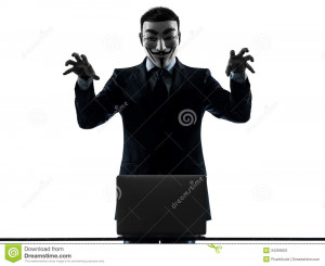 dressed and masked as a member of Anonymous underground group member ...