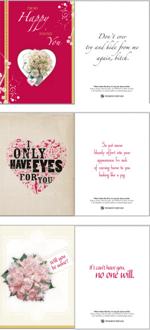 Disturbing domestic violence Valentine's Day cards