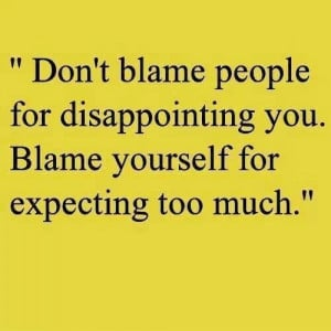 Blame and disappointment