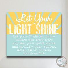 ... Bible Verse Matthew 5:16 Quote Nursery Art Baby Shower Gift Sun Yellow